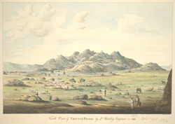 N. view of the hill-fort of Chitaldrug (Mysore).  Inscribed on front in ink: 'North View of Chittle Droog by Lt Rowley, Engineer, in 1803.  J.G. Newman delt'; in pencil: 'Copied, May 11, 1816.'